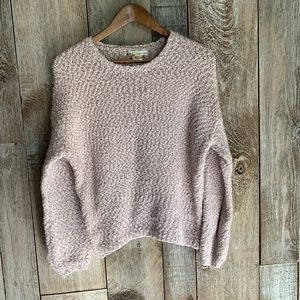 Anthropologie Kaisley Sweater Pink Sz L Boucle